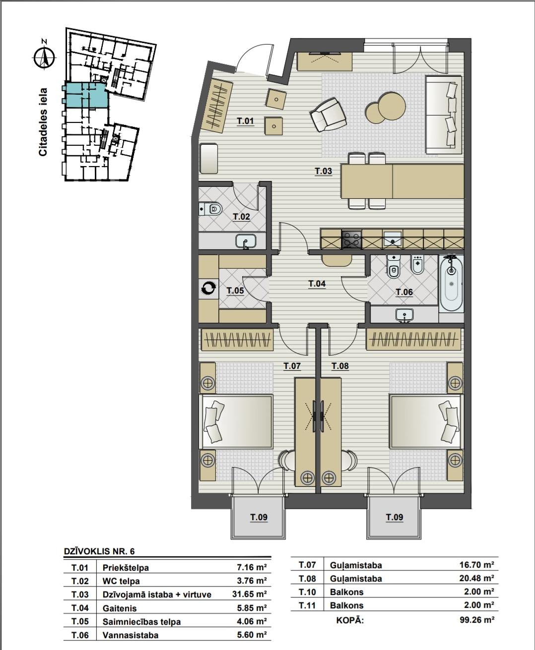 Pārdod dzīvokli, Citadeles iela 6 - Attēls 1