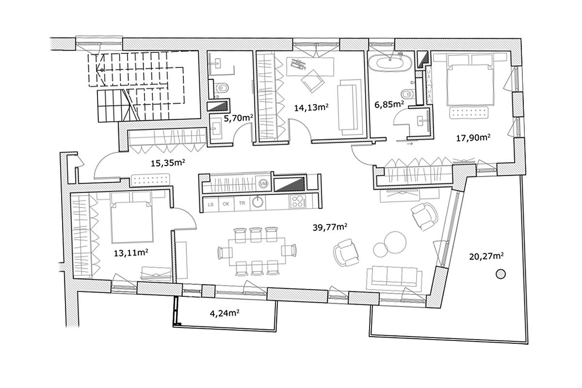 Izīrē dzīvokli, Mednieku iela 5 - Attēls 1